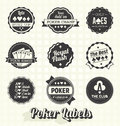 Vector set vintage poker labels collection of retro style and icons Royalty Free Stock Photos