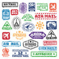 Vector set of vintage postage mail stamps.
