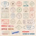 Vector set vintage postage stamps from countries all over world stamp different mail grunge postmark illustration.