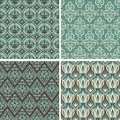 Vector set with vintage seamless patterns abstract background in flat retro style Stock Images