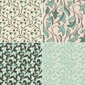 Vector set with vintage seamless patterns abstract background in flat retro style Royalty Free Stock Photography