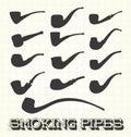 Vector Set: Vintage Smoking Pipes Royalty Free Stock Photo