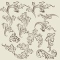 Vector set of vintage swirl ornaments for design Stock Image