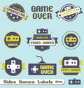 Vector Set: Vintage Video Game Labels and Icons Royalty Free Stock Images