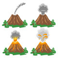 Vector set of volcano eruption illustrations