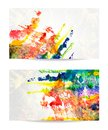 Vector set of watercolor backgrounds eps abstract hand drawn Stock Photo