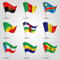 Vector set of waving flags central africa on silver pole and - icon of states