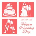 Vector set wedding. four icons the wedding cake, bride and groom, champagne glasses