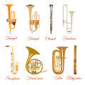 Vector set of wind musical instruments isolated on white background Royalty Free Stock Photo