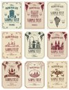 Set of vector labels for wine in retro style Royalty Free Stock Photo