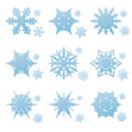 Vector set of winter snowflakes blue and snow crystals Royalty Free Stock Photography