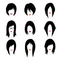 Vector set of woman hipster style haircut, glasses Royalty Free Stock Photo