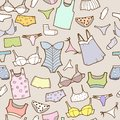 Vector set with woman panty and lingerie hand drawn underwear Stock Photo