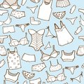 Vector set with woman panty and underwear hand drawn lingerie Stock Image