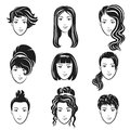 Vector set of women avatar hairstyles stylized logo set. Female hair style icons emblem. Royalty Free Stock Photo