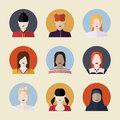 Vector set  of women avatars Royalty Free Stock Photo
