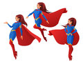 Vector set of women in blue and red superhero outfit in three different poses. Royalty Free Stock Photo