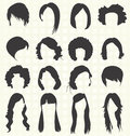Vector set women hairstyle silhouettes collection of retro and modern womans Stock Photos