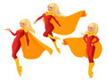 Vector set of women in red and yellow superhero outfit in different poses. Royalty Free Stock Photo