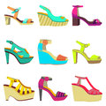 Vector set of women summer shoes