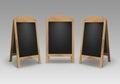 Vector Set of Wooden Empty Blank Advertising Street Sandwich Stands Sidewalk Signs Black Menu Boards