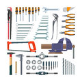 Vector set of working tools in flat style. Design elements and icons on white background. Construction home