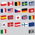 Vector set of world flags flags boxes illustration Royalty Free Stock Image