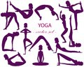 Vector set of 13 yoga poses. The girl silhouette