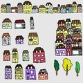 Vector set for your design houses and real estate handdrawn city Royalty Free Stock Images