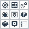 Vector settings icons set isolated Royalty Free Stock Image