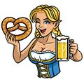 Sexy oktoberfest girl with pretzel and beer Royalty Free Stock Photo