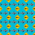 Vector shark seamless pattern. Royalty Free Stock Photo