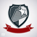 Vector shield with pentagonal comet star and decorative curvy band, protection heraldic sheriff blazon with red ribbon.