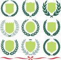 Vector shields and laurel wreaths set Royalty Free Stock Photo