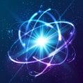 Vector shining neon lights atom model cosmic Stock Photos