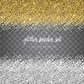Vector shiny gold and silver glitter border set isolated on tran Royalty Free Stock Photo