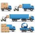 Vector shipment trucks icons set on white background Stock Images