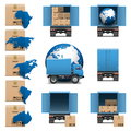 Vector shipment trucks icons set on white background Stock Photography