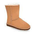 Vector shoes, beige brown winter boots with fur, isolated