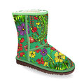 Vector shoes, green winter boots with fur from floral print, isolated