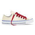 Vector shoes, gumshoes white with red shoelaces, isolated