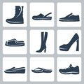 Vector shoes icons set Royalty Free Stock Photos