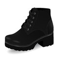 Vector shoes, women`s black high boots on low-heeled with shoelaces, isolated