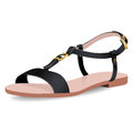 Vector shoes, women`s black sandals on flat-bottomed with straps, isolated