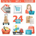 Vector shopping icons set on white background Royalty Free Stock Photo