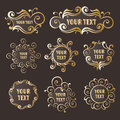 Vector sign with ethnic gold pattern Stock Photos