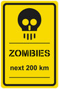 Vector sign zombies next 200 km Stock Photos