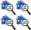 Vector signs of search home, rent, loans, sale label signs. Royalty Free Stock Photo