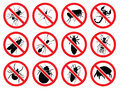 Vector signs Stop for the harmful, stinging and parasitizing   insects Royalty Free Stock Photo