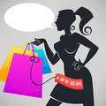 Vector silhouette of beautiful fashionable lady
